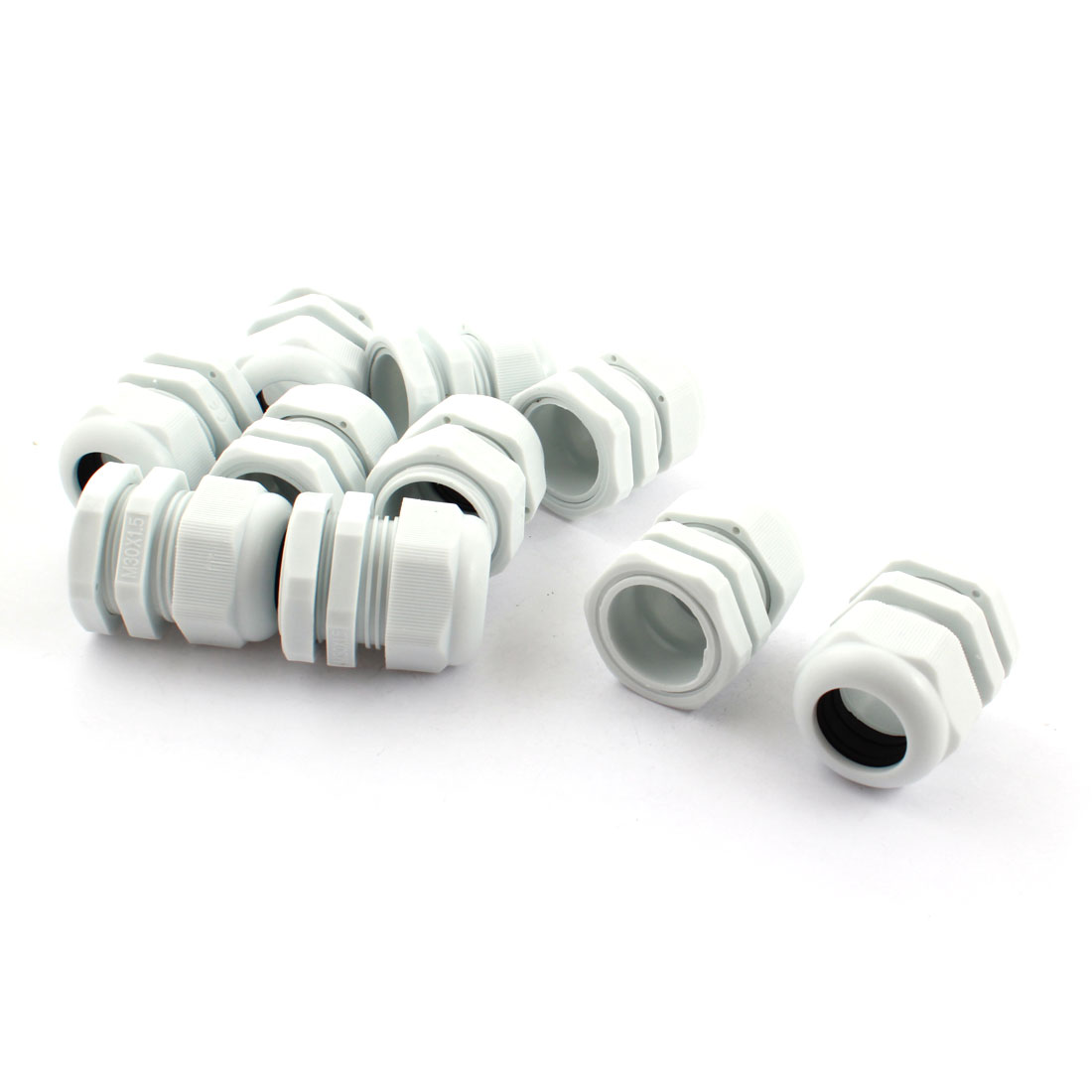 10Pcs M30X1.5 13mm to 21mm Waterproof Connector Adapter Joint Plastic Cable Gland White