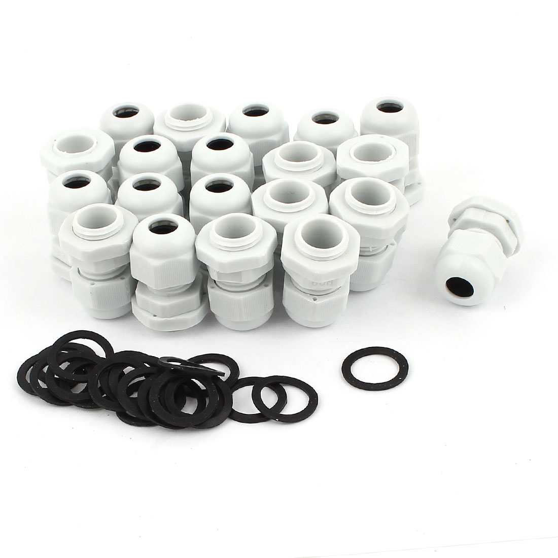 20 Pcs PG9 White Plastic 4-8mm Dia Waterproof Cable Glands Connectors