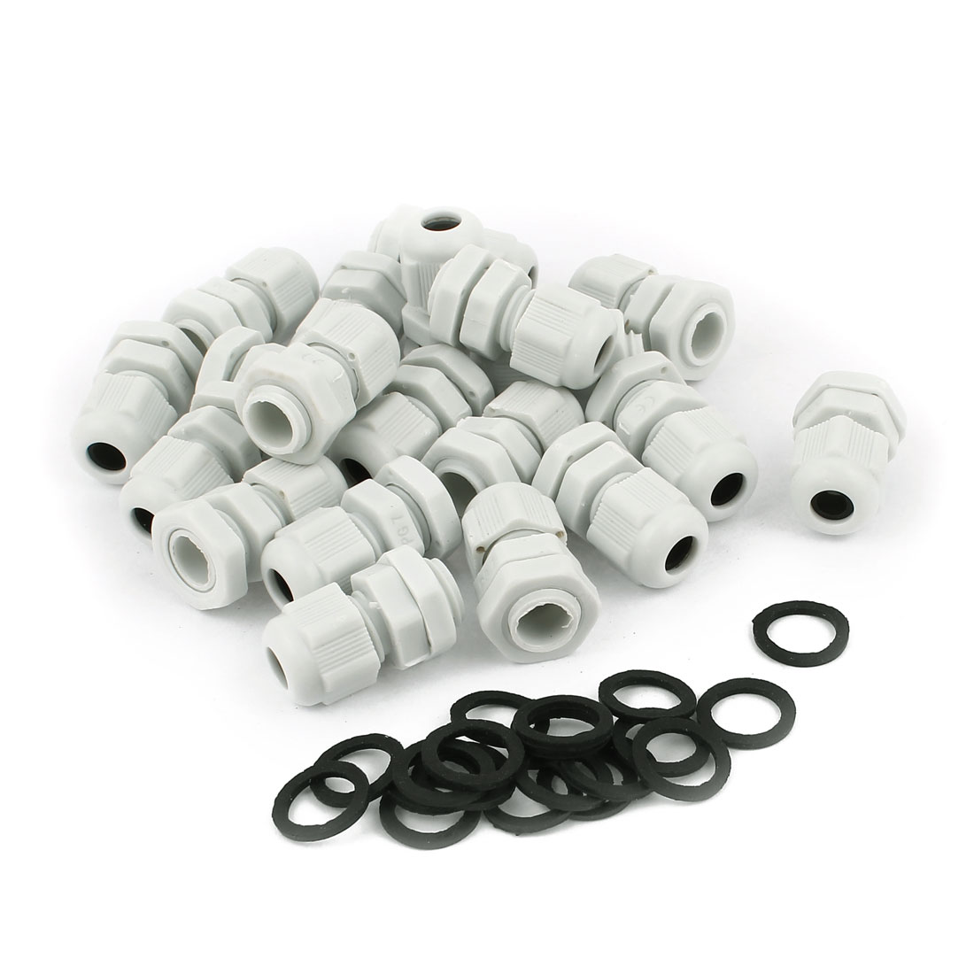 20 Pcs PG7 White Plastic 3-6.5mm Dia Waterproof Cable Glands Connectors