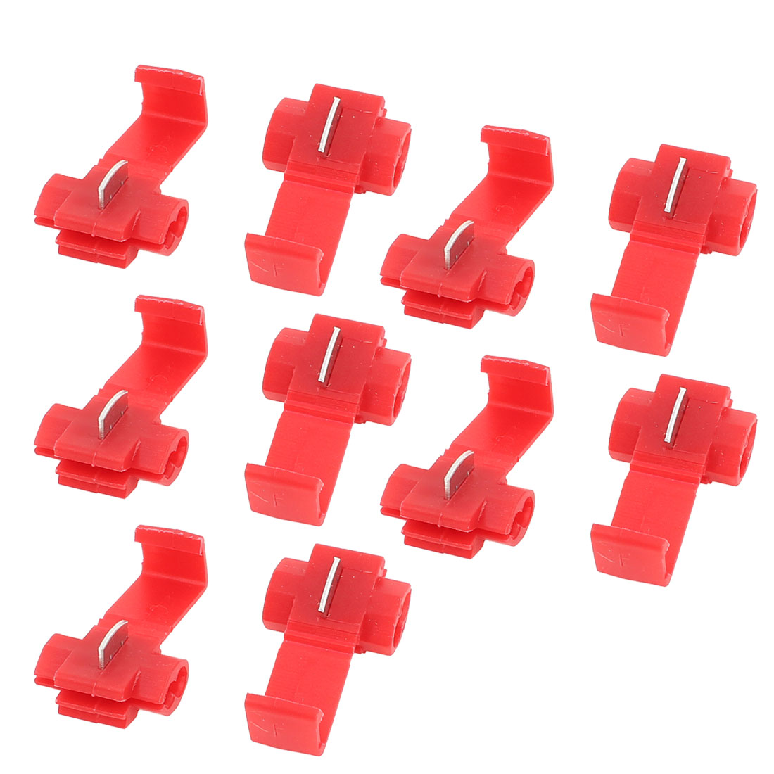 10 Pcs Red Plastic 2 Holes Adjustable Wire Cord Cable Clips Organizer