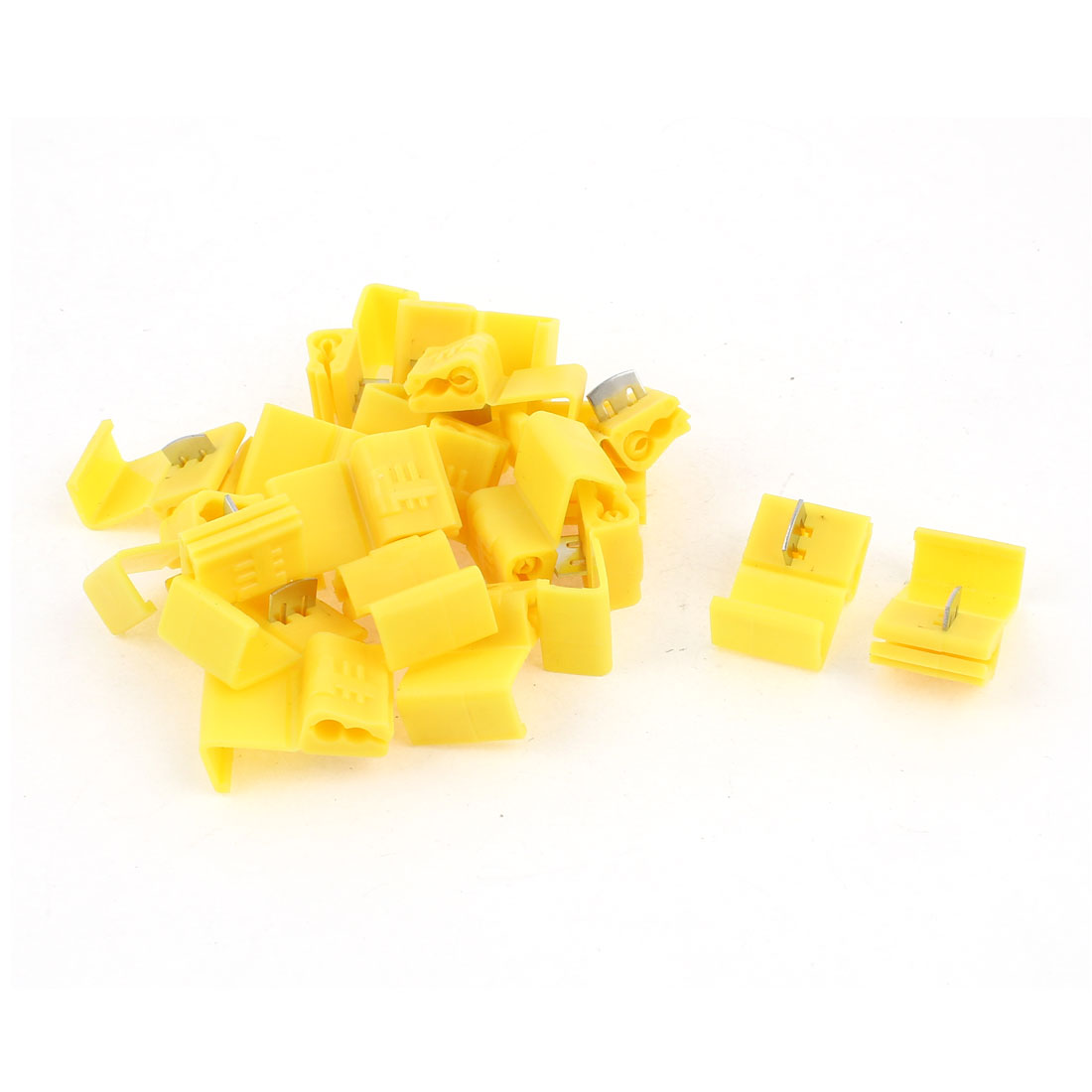 20 Pcs Yellow Plastic 2 Holes Adjustable Wire Cord Cable Clips Organizer