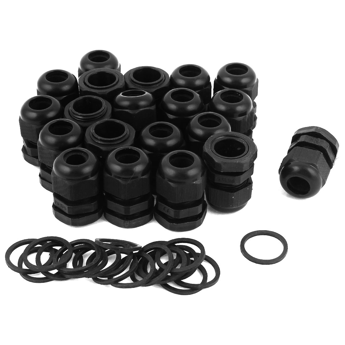 20 Pcs PG13.5 Black Plastic 6-12mm Dia Waterproof Cable Glands Connectors