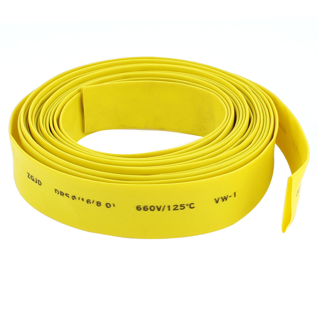 16mm Diameter Heat Shrinkable Tube Shrink Tubing Wire Wrap 5M 16Ft Yellow