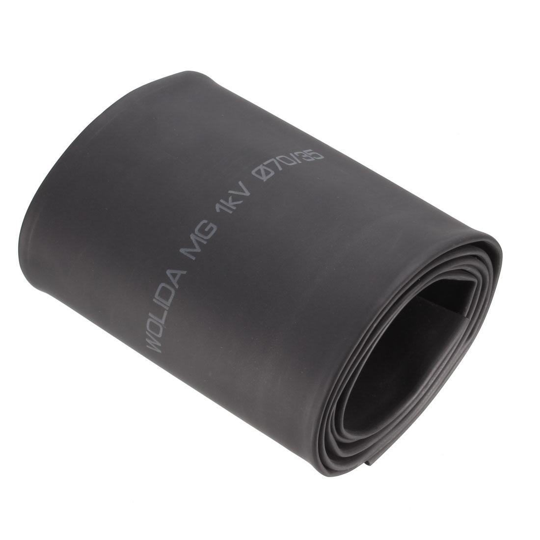 Black 70mm Diameter 2:1 Polyolefin Tube Sleeving Heat Shrink Tubing 1M 3.3Ft