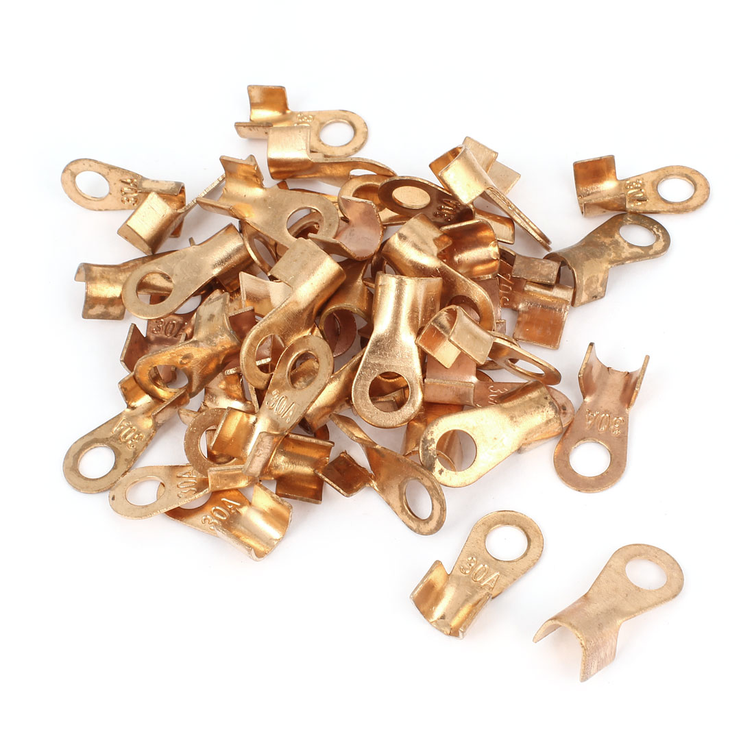 50 Pcs 30A Open Cable Connector Ring Lug Copper Passing Through Terminals
