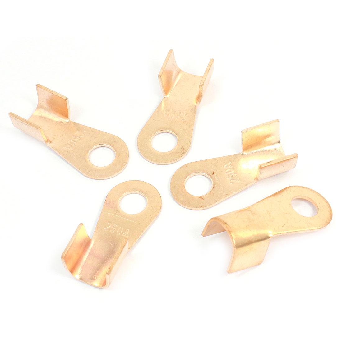 5 Pcs 250A Open Cable Connector Ring Tongue Copper Passing Through Terminals
