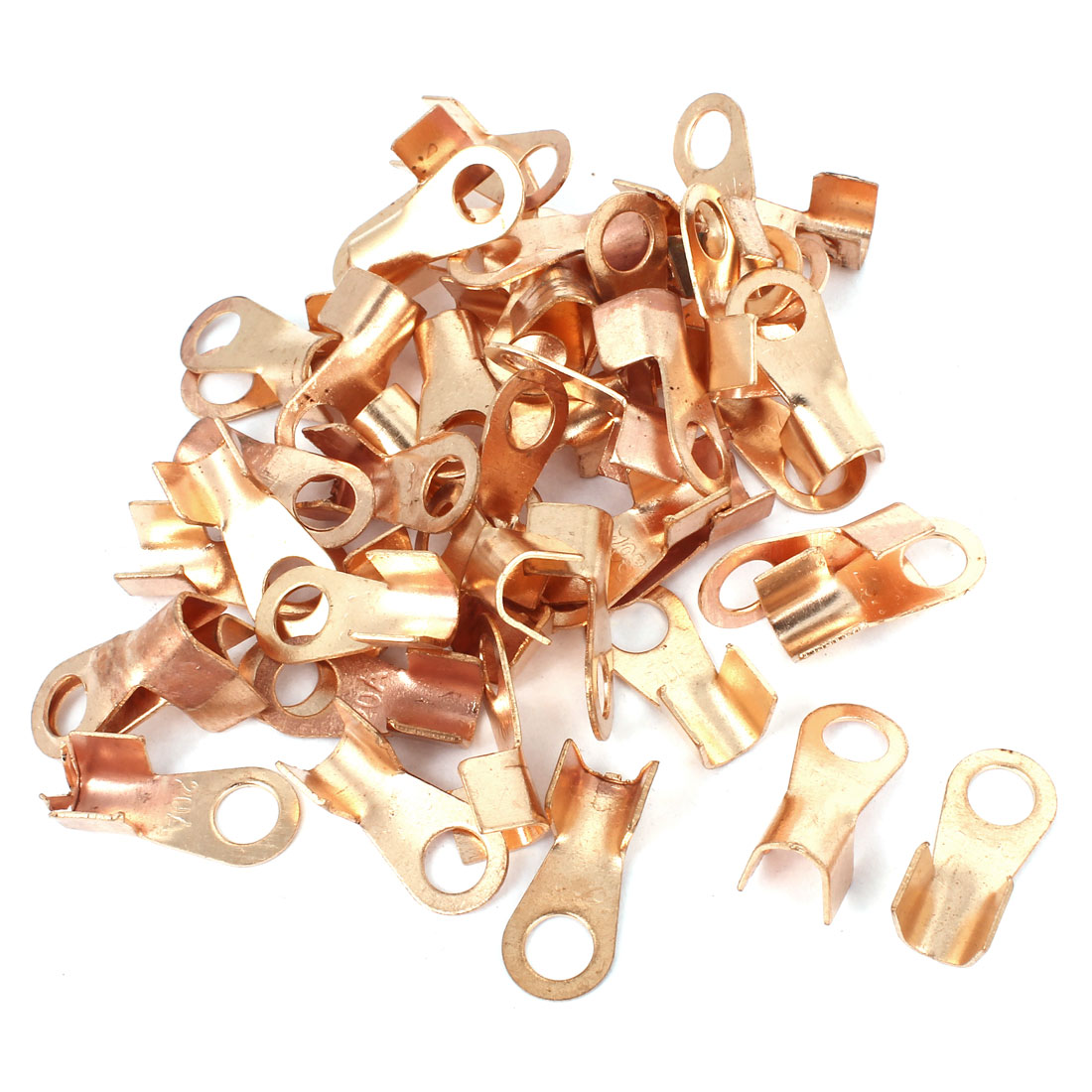 50 Pcs 20A Open Cable Connector Ring Lug Copper Passing Through Terminals