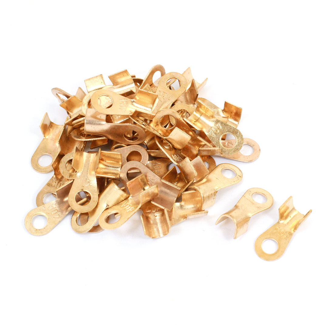 50 Pcs 40A Open Cable Connector Ring Tongue Copper Passing Through Terminals