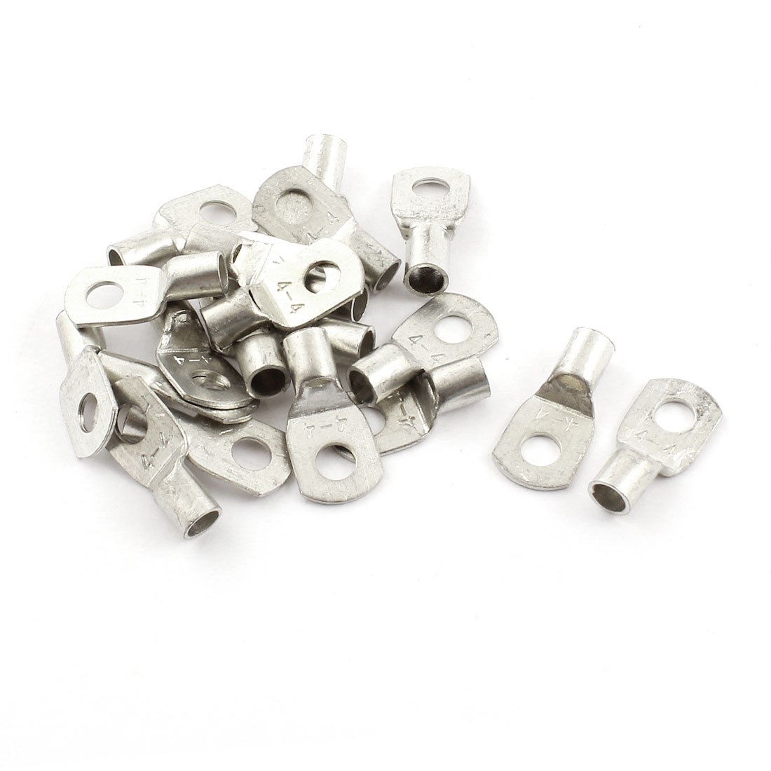 "20 Pcs SC2.5-4 4mm2 Cable Copper Lug Terminal Connector Silver Tone for 0.16"" Dia Bolt"