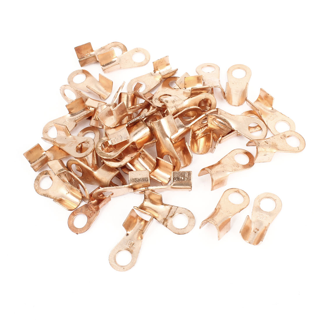 50 Pcs 10A Open Cable Connector Ring Lug Copper Passing Through Terminals