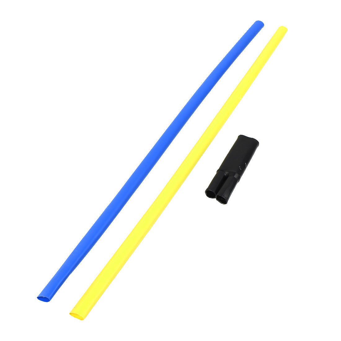 2Pcs Blue Yellow Polyolefin 15mm Dia 10-16mm2 Cable Heat Shrink Cover Wiring Shrinkable Tube 0.6M w Breakout Boot