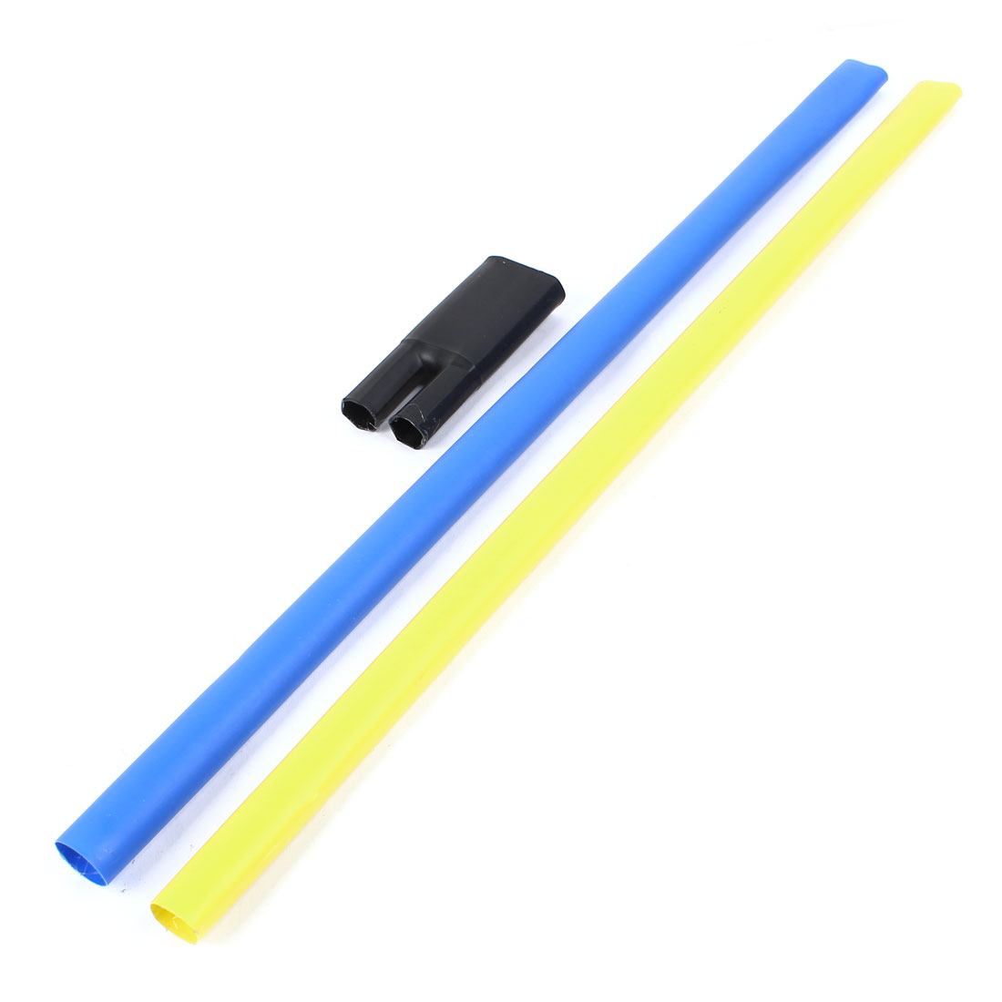 2Pcs Blue Yellow Polyolefin 20mm Dia 25-50mm2 Cable Heat Shrink Cover Wiring Shrinkable Tube 0.6M w Breakout Boot