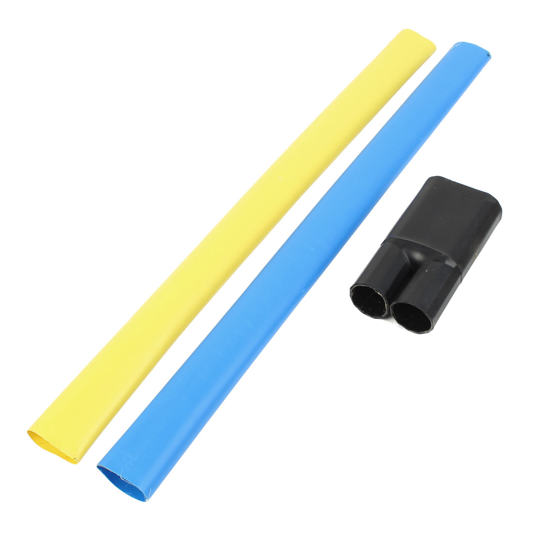 2Pcs Blue Yellow Polyolefin 35mm Dia 150-240mm2 Cable Heat Shrink Cover Wiring Shrinkable Tube 0.6M w Breakout Boot