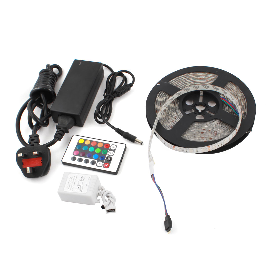 Car Auto AC/DC UK Plug Power Adapter 5050 300 LED Strip Light 5M + 24 Key RGB Controller