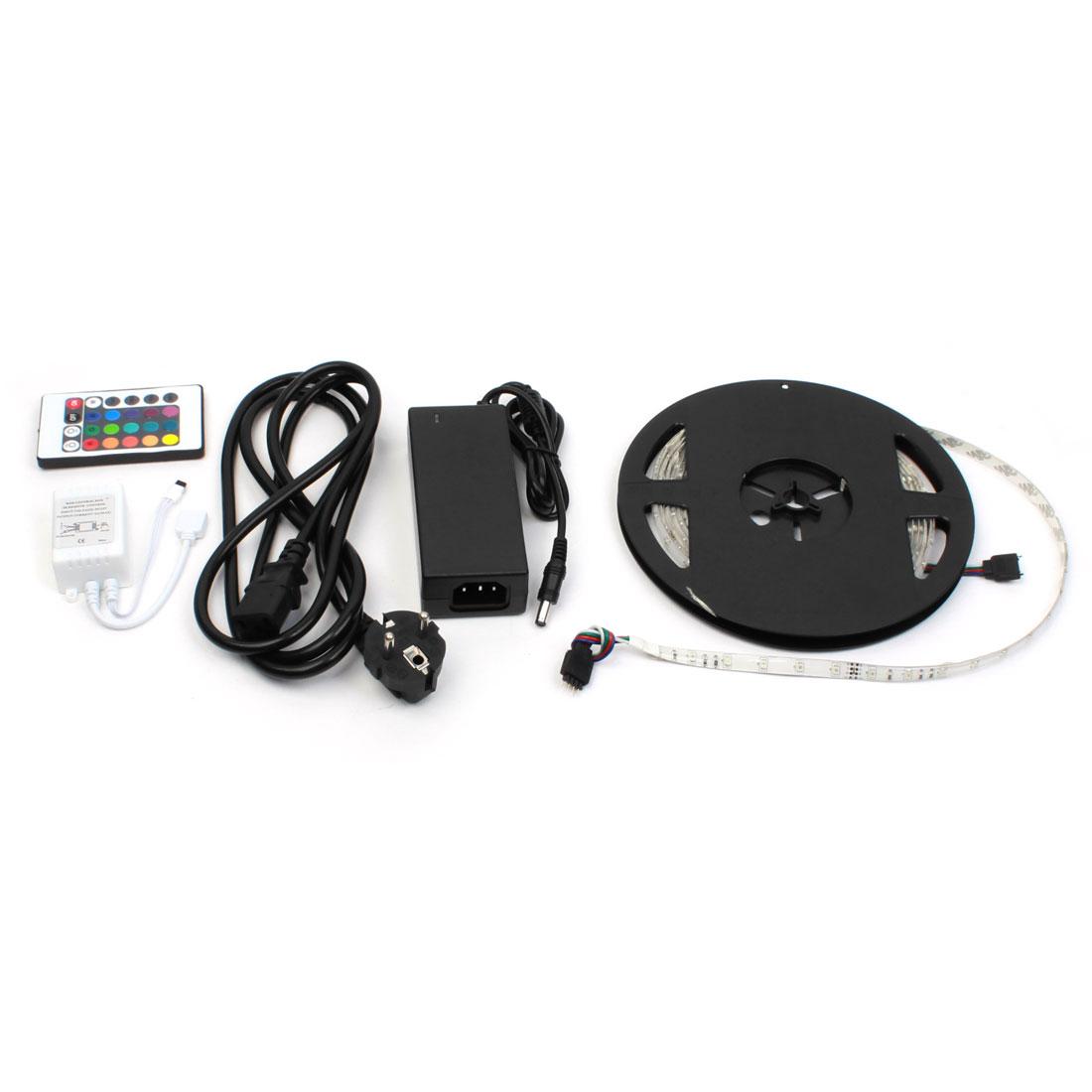 Car AC/DC UK Plug Power Adapter 3528 300 LED Strip Light 5M + 24 Key RGB Controller