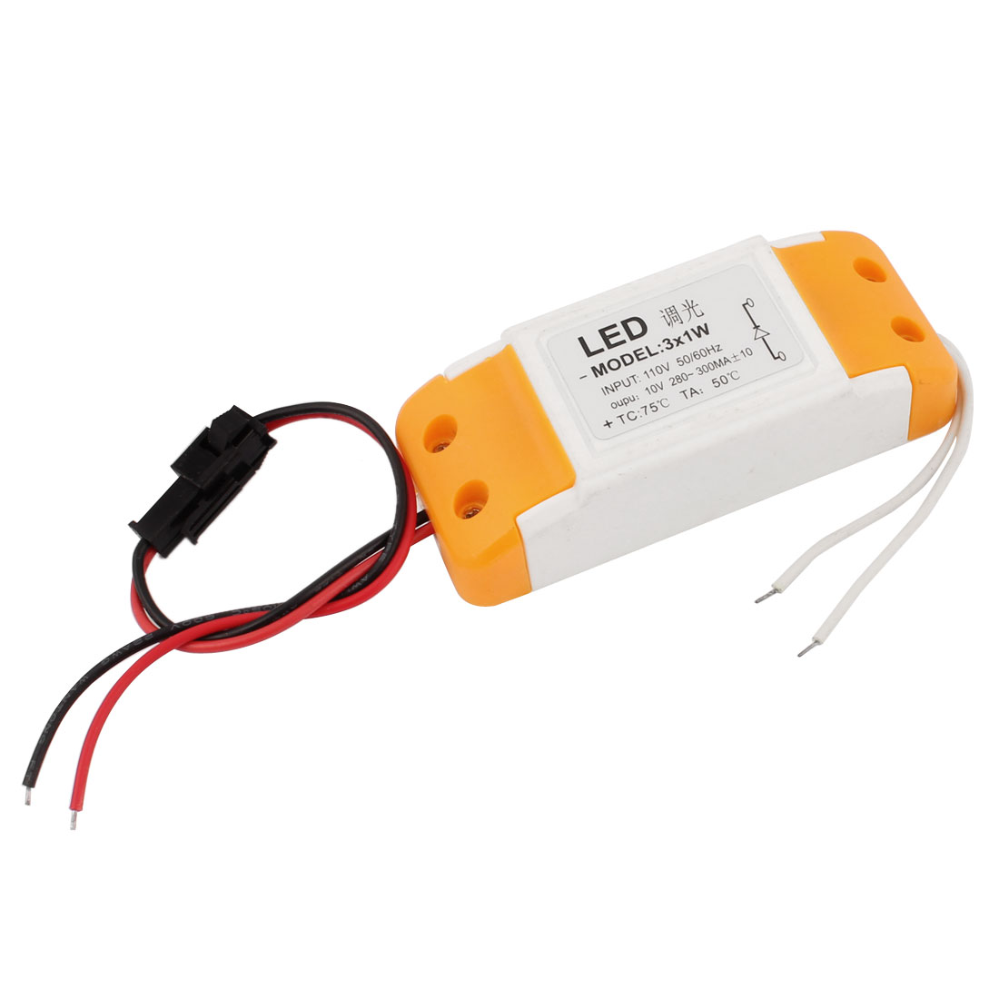 AC110V to DC10V 280-300mA 3x1W Plastic Case Waterproof LED Dimmer Driver Power Converter Adapter