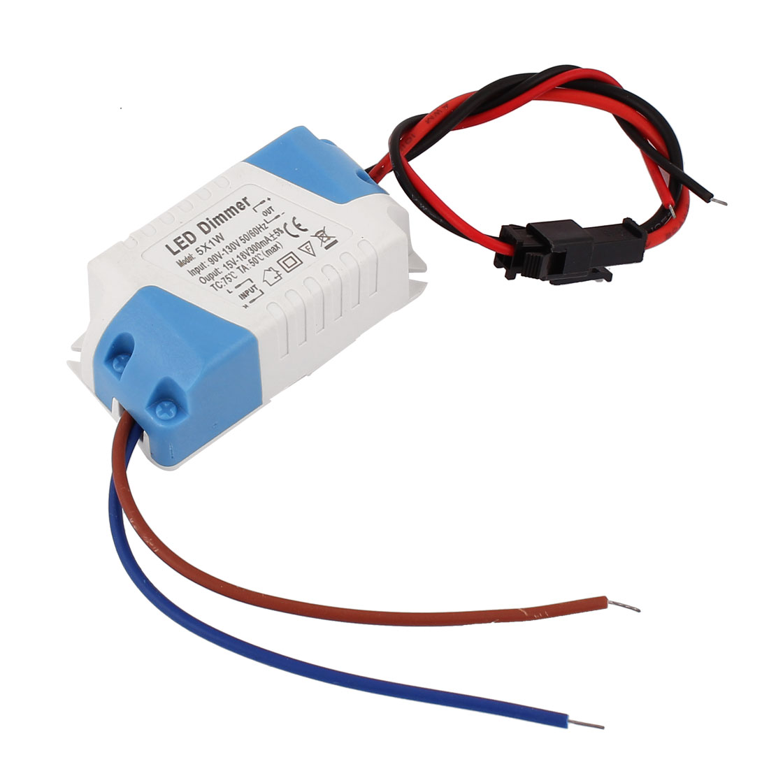 AC 90-130V to DC15-18V 300mA 5x1W Waterproof Plastic Housing LED Driver Dimmer Power Supply Converter