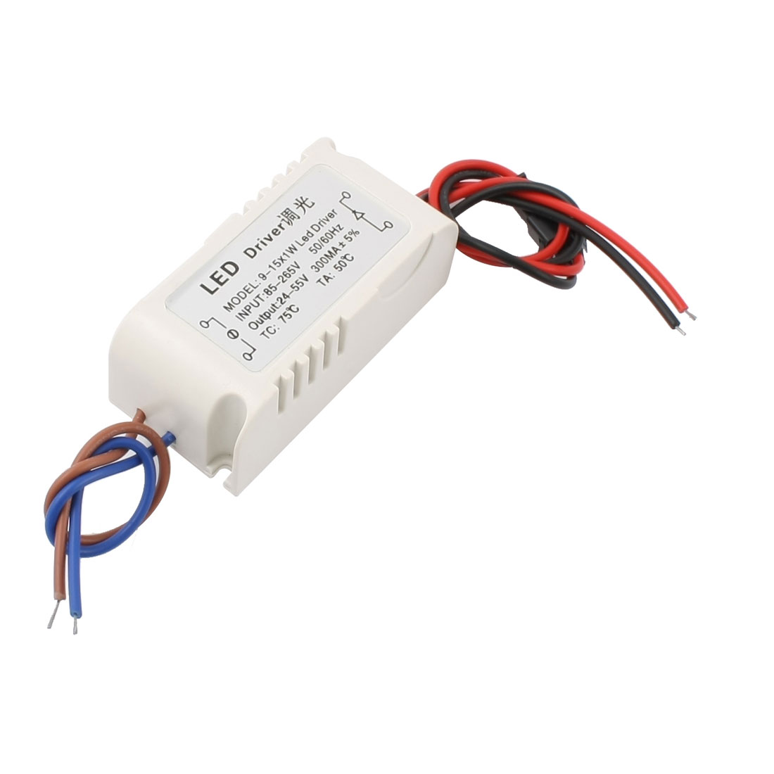 AC 85-265V to DC 24-55V 300mA (9-15)x1W Plastic Case LED Driver Dimmer Adapter Converter