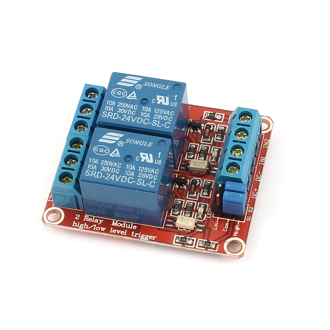 DC24V Dual Channel High Low Level Trigger Relay Expansion Circuit Board Module Blue