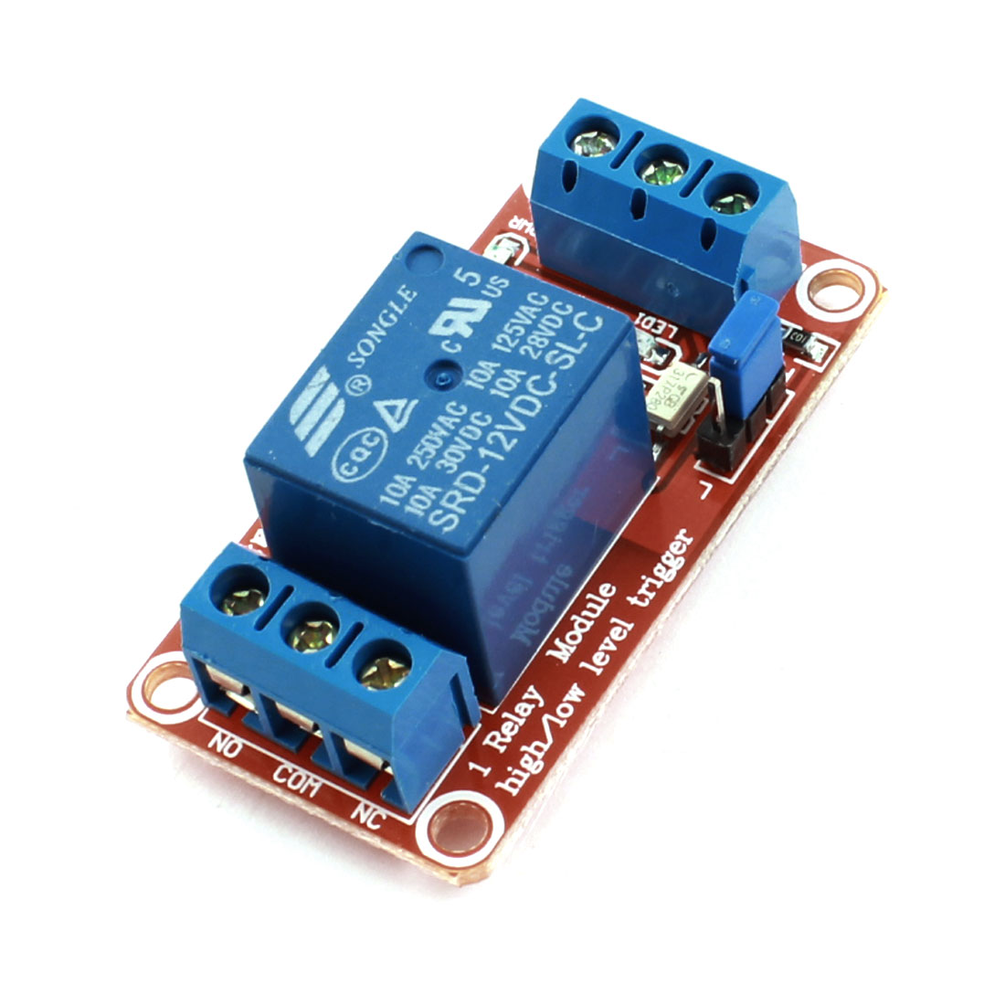 SRD-12VDC-SL-C 1 Channel High/Low Level Trigger Relay Module DC12V 10A