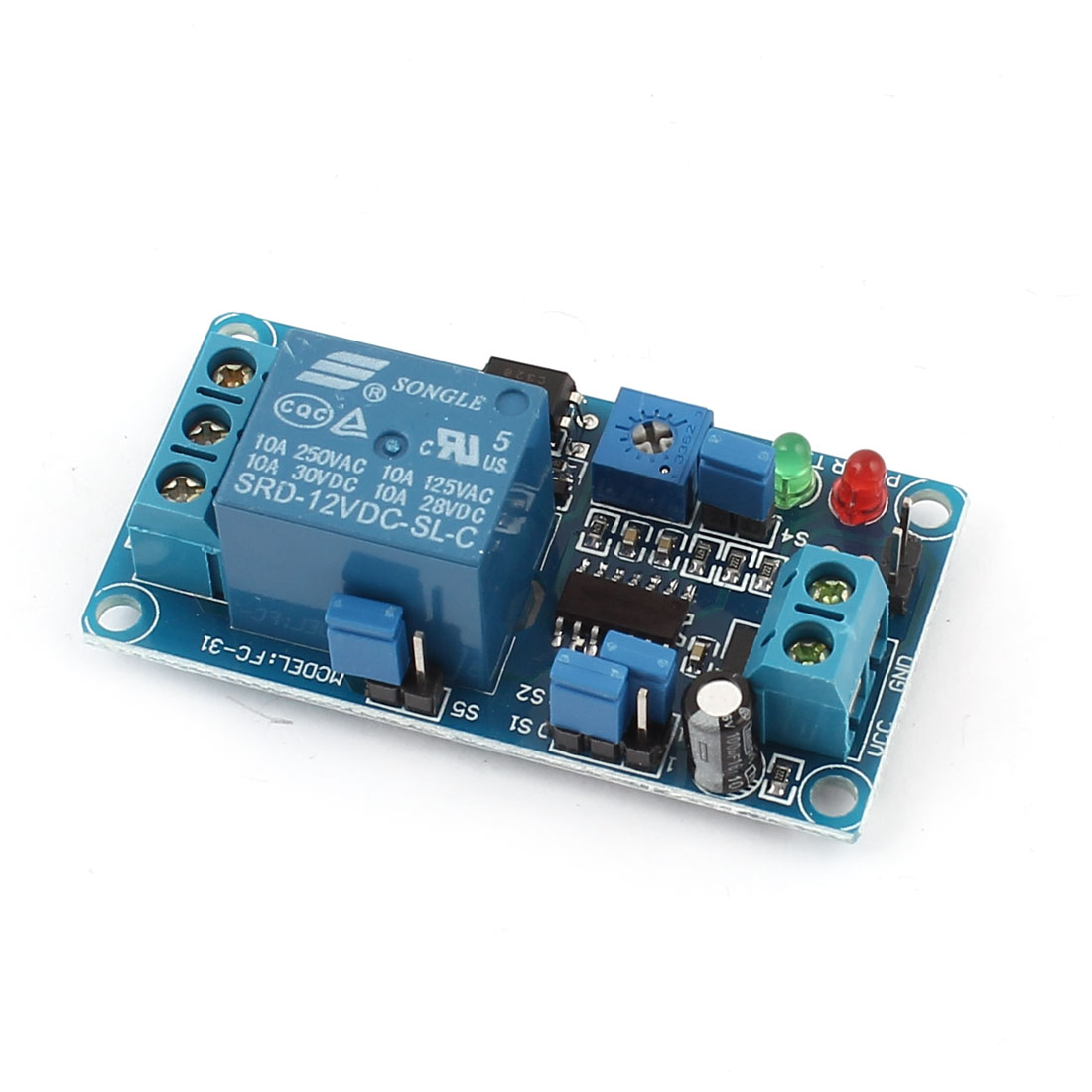 FC-31 Blue 1-Channel NO Triggered Time Delay Relay Switch Module Expansion Circuit Board DC12V