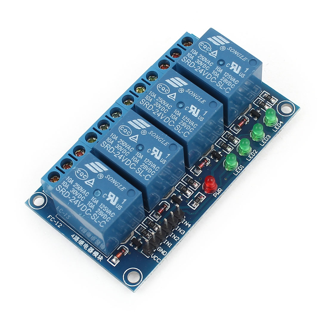 DIY Parts DC 24V 4-Channel Low Level Trigger Relay Module for MCU AVR