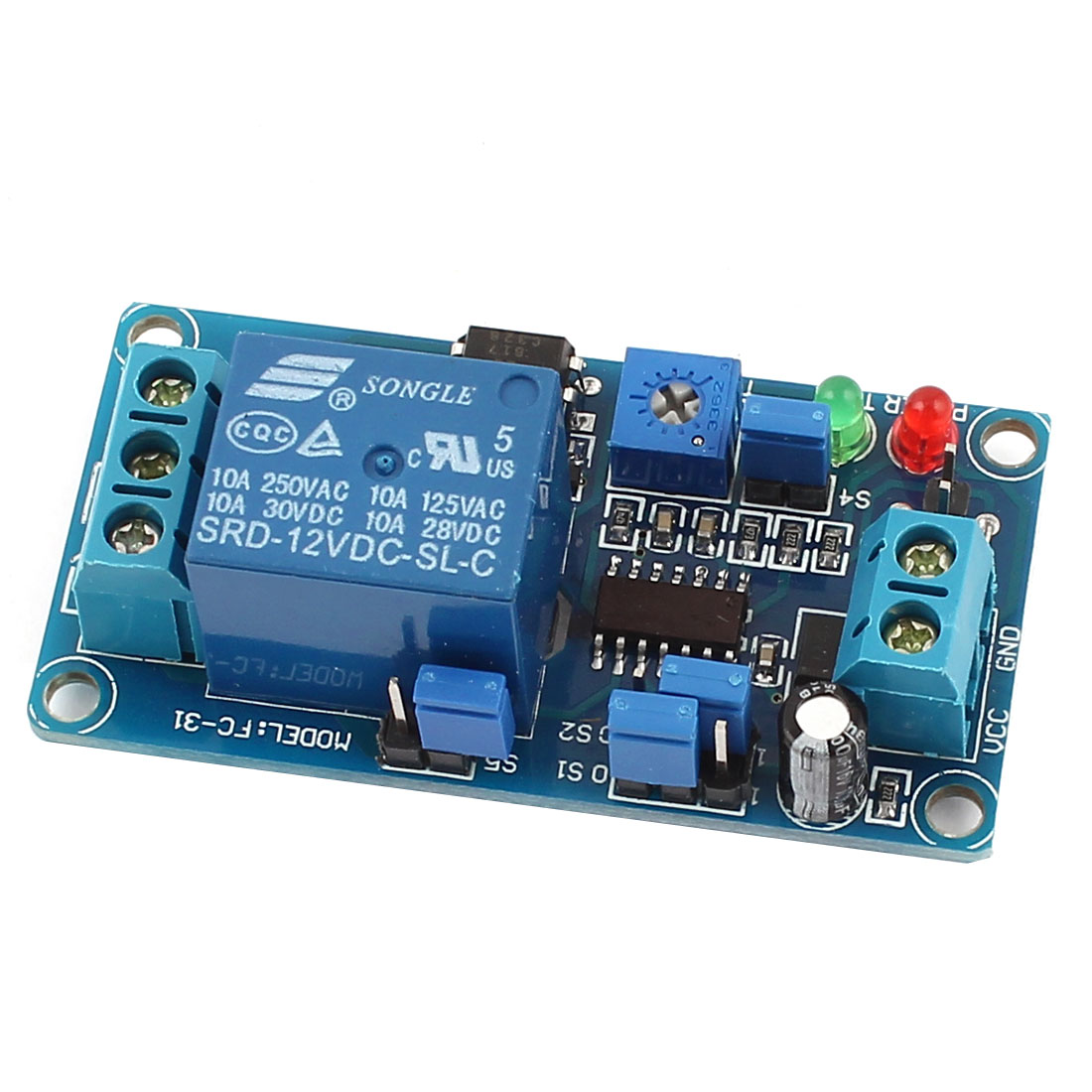 Blue DIY 1 Channel Normal Close Trigger Time Delay Relay Circuit Module DC12V