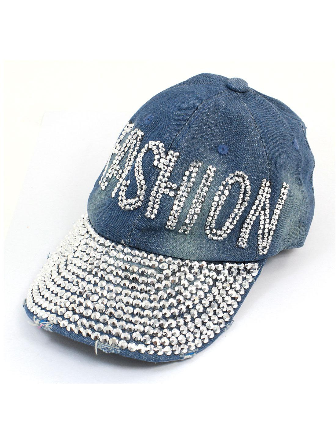 Woman Bling Bling Rhinestones Letters Decor Visor Front Summer Peaked Cap Hat Light Blue
