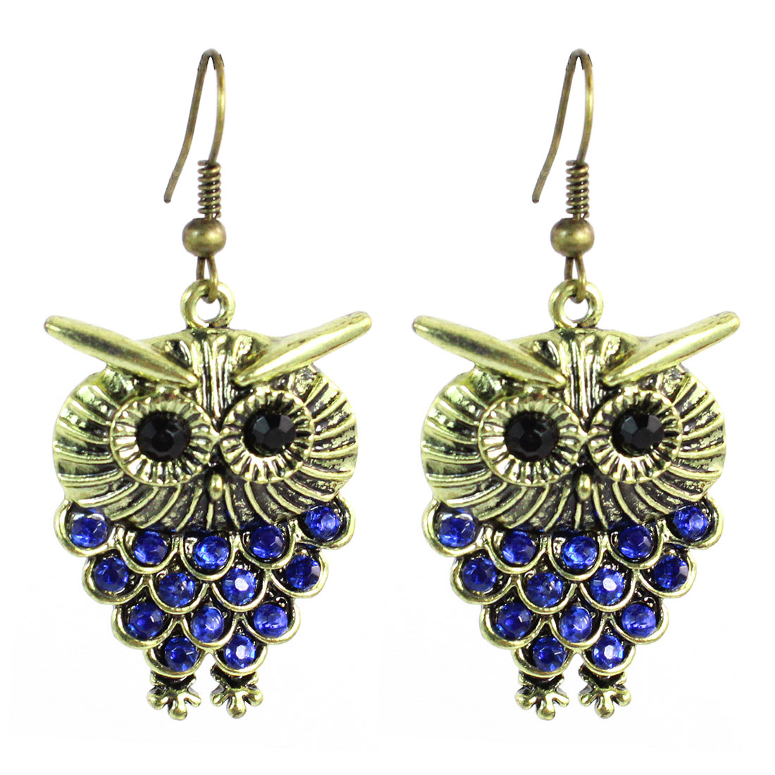 Woman Royal Blue Rhinestones Inlaid Bronze Tone Owl Dangling Hook Earrings Pair