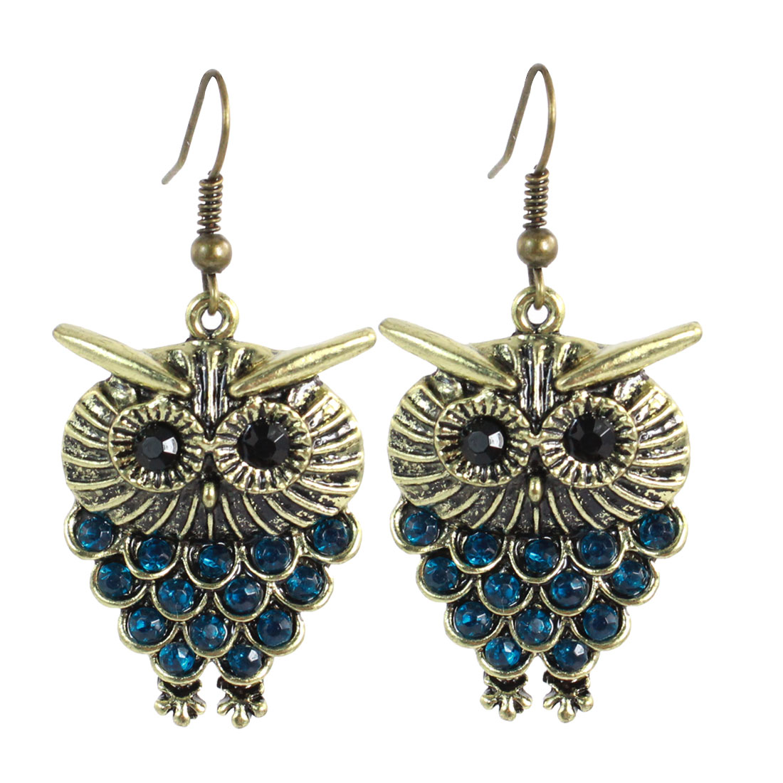 Woman Teal Blue Rhinestones Inlaid Bronze Tone Owl Dangling Hook Earrings Pair