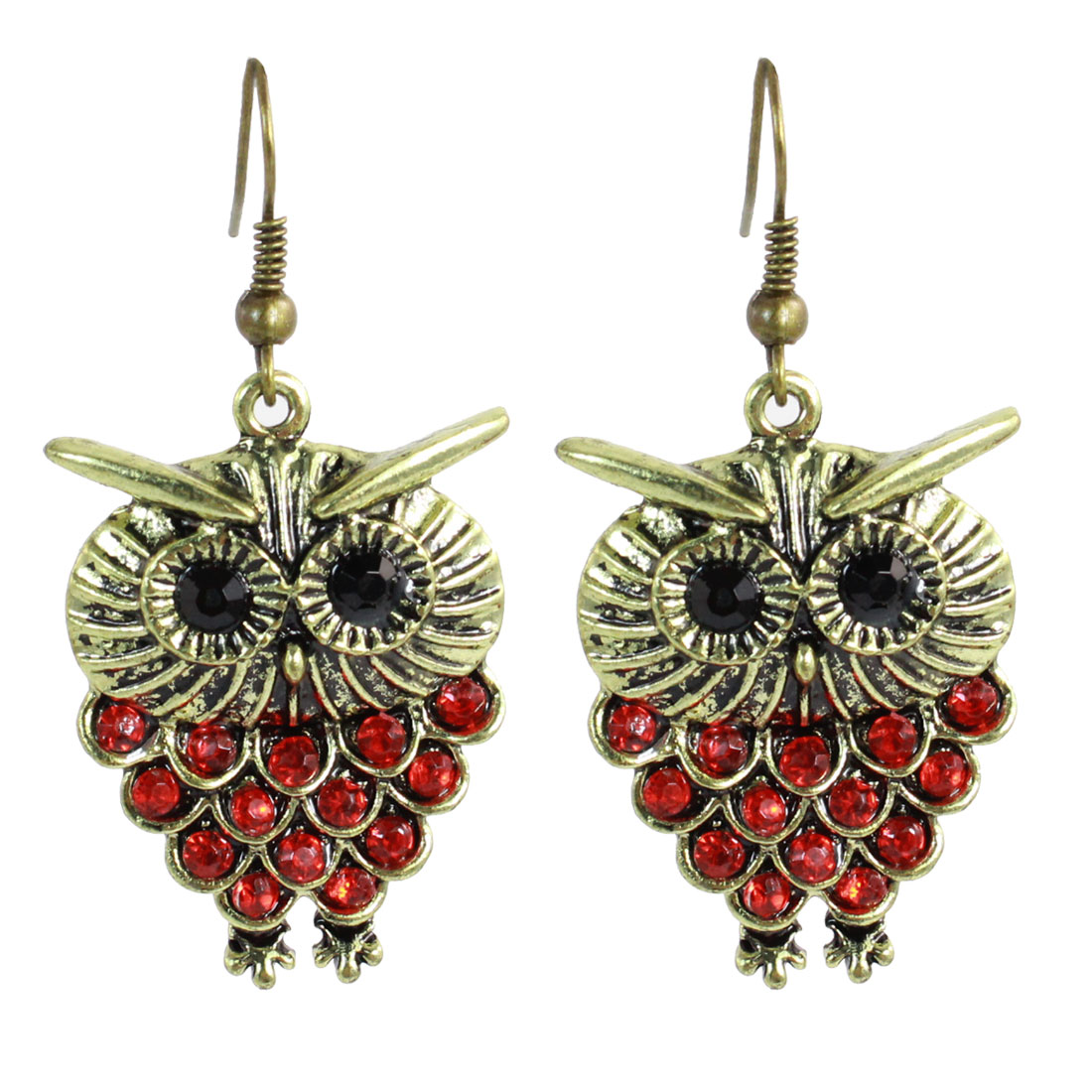 Woman Red Rhinestones Inlaid Bronze Tone Owl Dangling Hook Earrings Pair