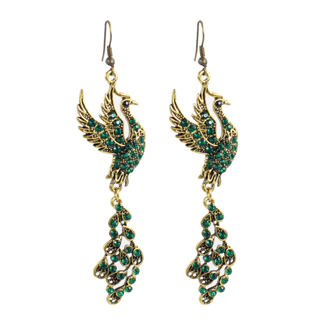 Woman Green Rhinestones Decor Phoenix Bird Dangling Hook Earrings Pair