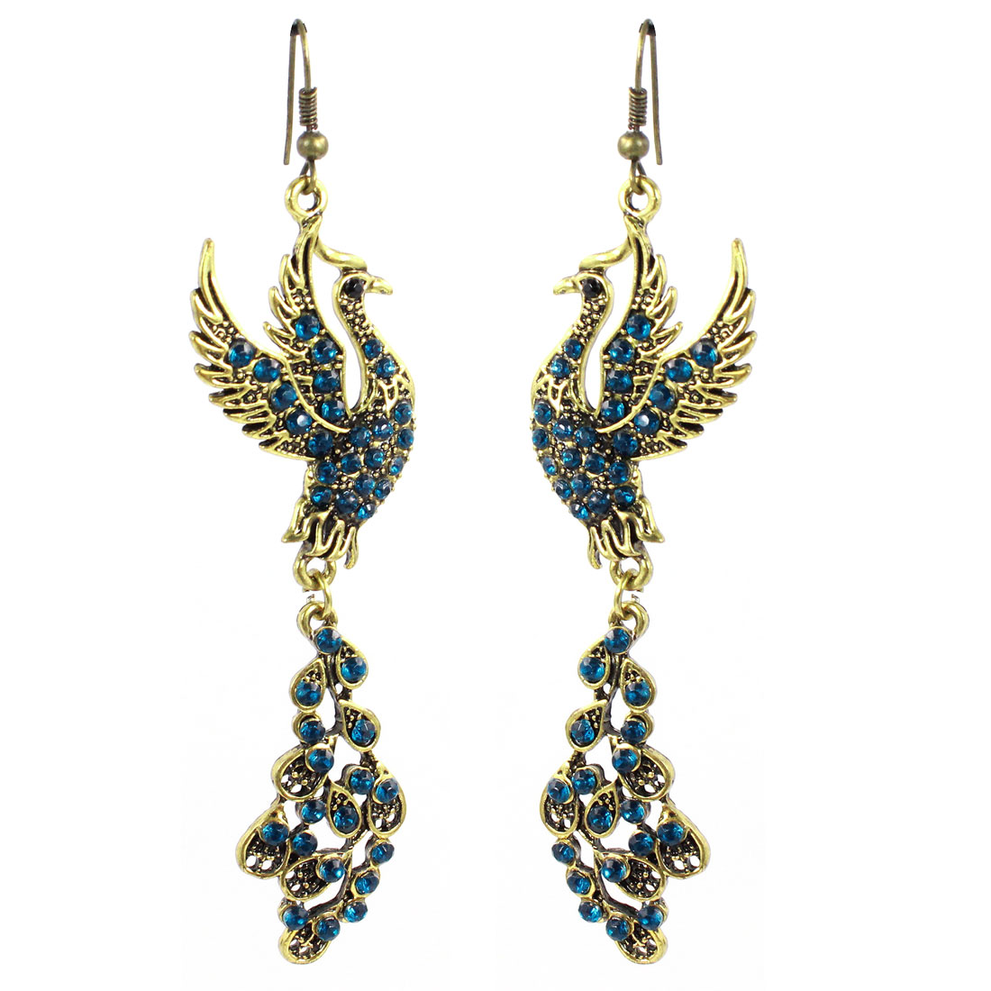 Woman Blue Rhinestones Decor Phoenix Bird Dangling Hook Earrings Pair