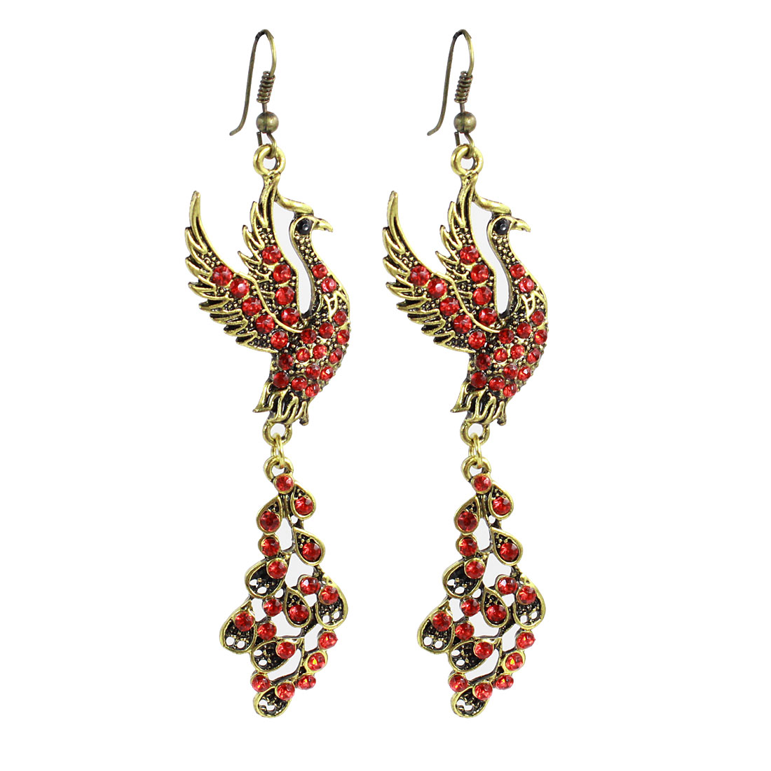 Woman Red Rhinestones Decor Phoenix Bird Dangling Hook Earrings Pair