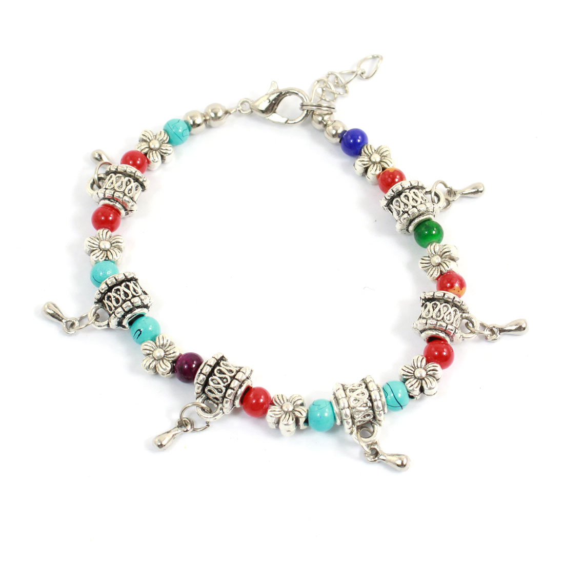 Woman Lobster Hook Flower Beads Decor Adjustable Chain Bracelet Multicolor
