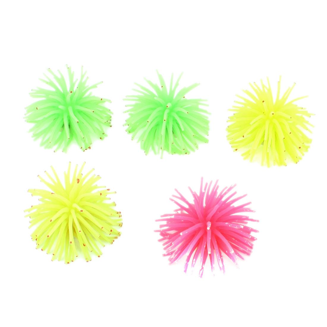 "5 Pcs Multi Color Silicone Artificial Aquatic Coral 2.2"" Height for Aquarium"