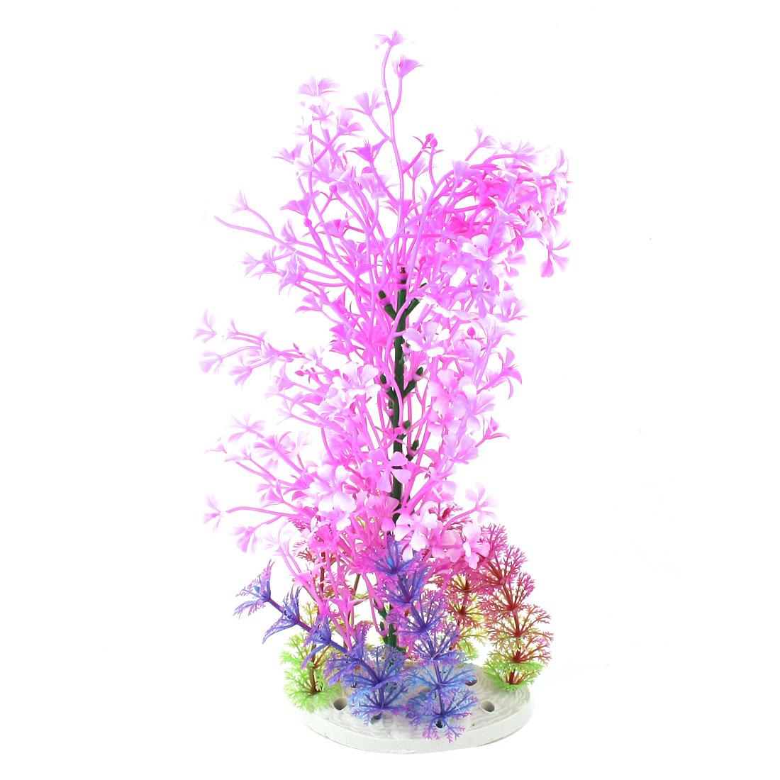 "Aquarium Underwater Landscaping Emulational Purple Plastic Flower Grass Plant Decor 11.4"" High"