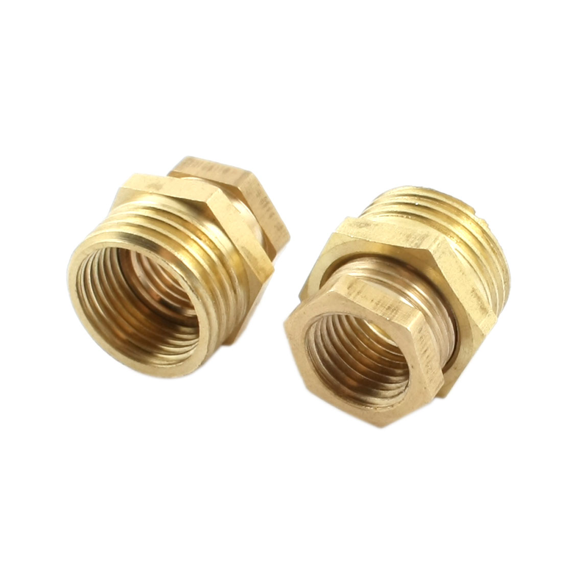 2 Pcs 1/2PT Male x 1/4PT Female Brass Pipe Reducer Hex Bushing Fitting Gold Tone