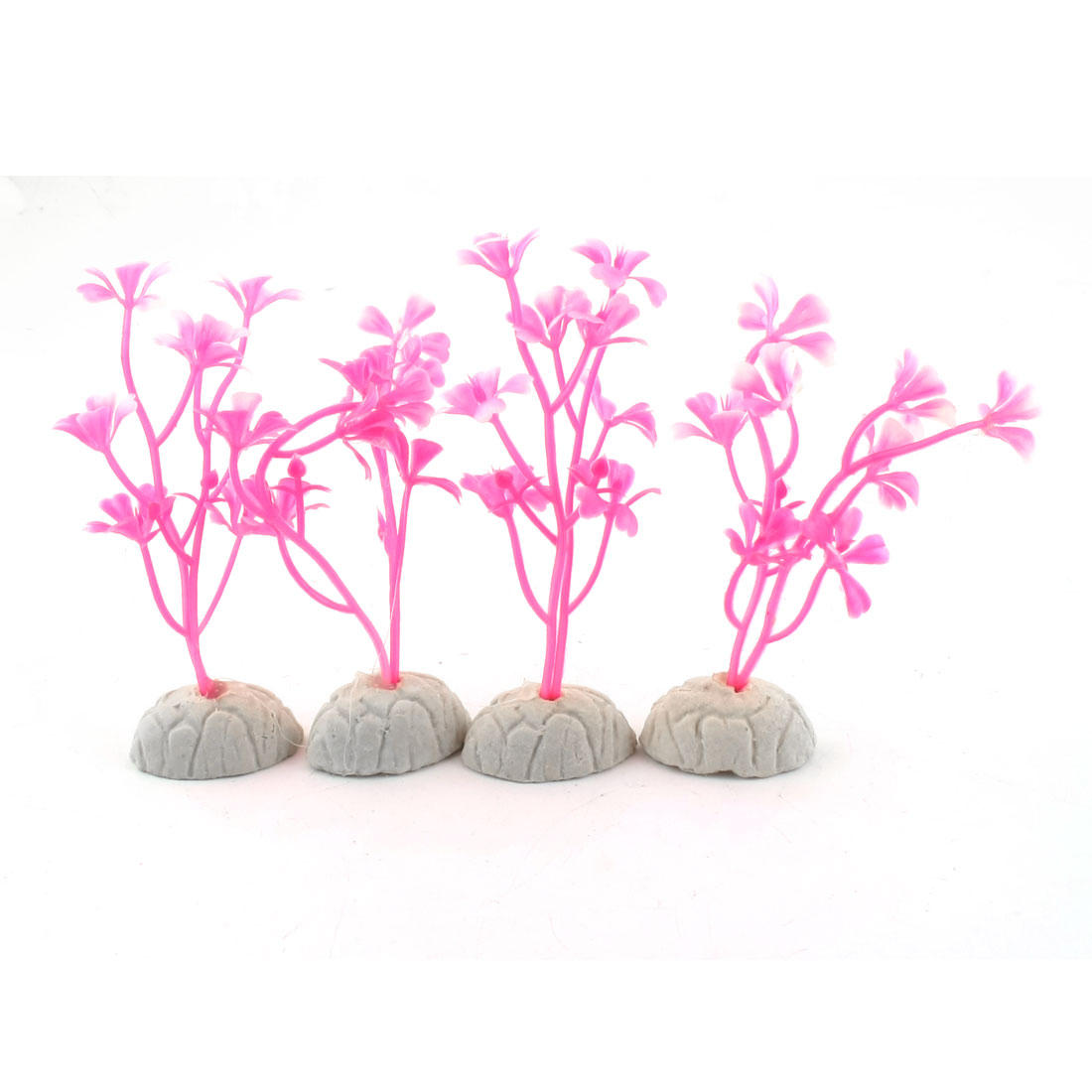 "5 Pcs Aquarium Pink Ceramic Base Plastic Emulational Plant Grass 3.5"" Height"
