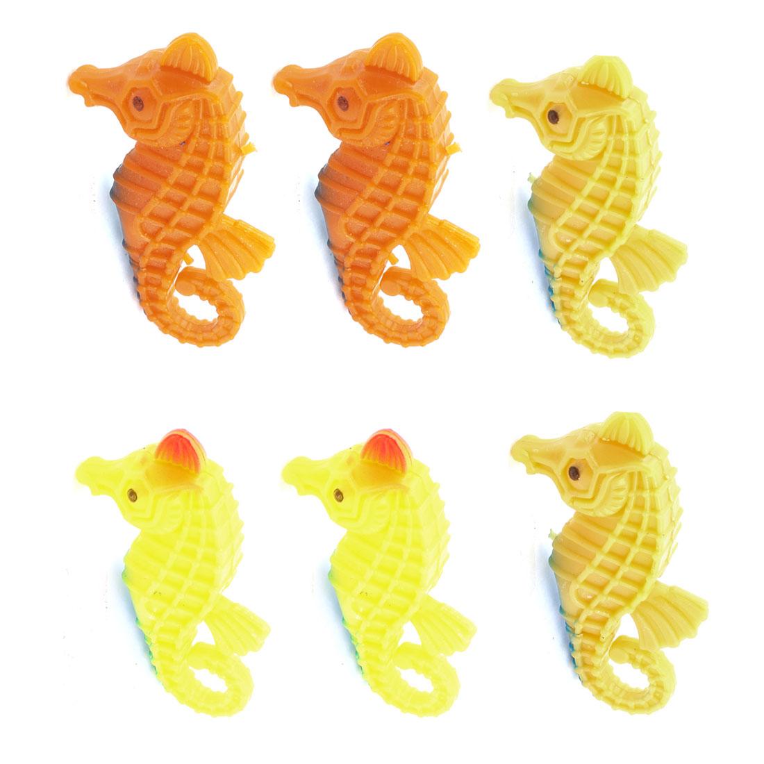 Aquarium Fish Tank Ornament Brown Yellow Orange Artificial Seahorse 6 Pcs