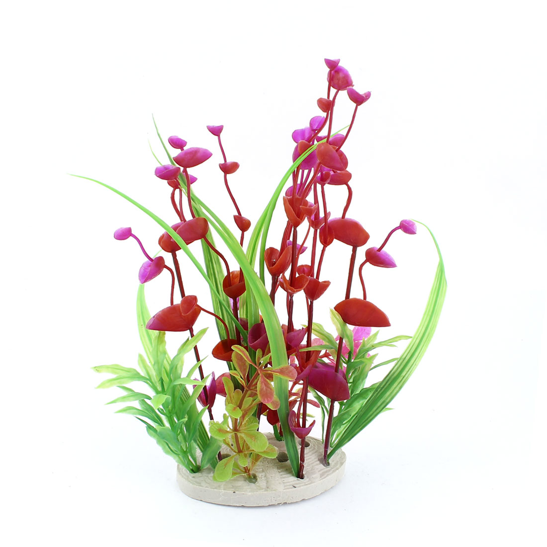 "9"" High Green Grass Red Violet Leaf Plastic Aquatic Plants Aquarium Decor"