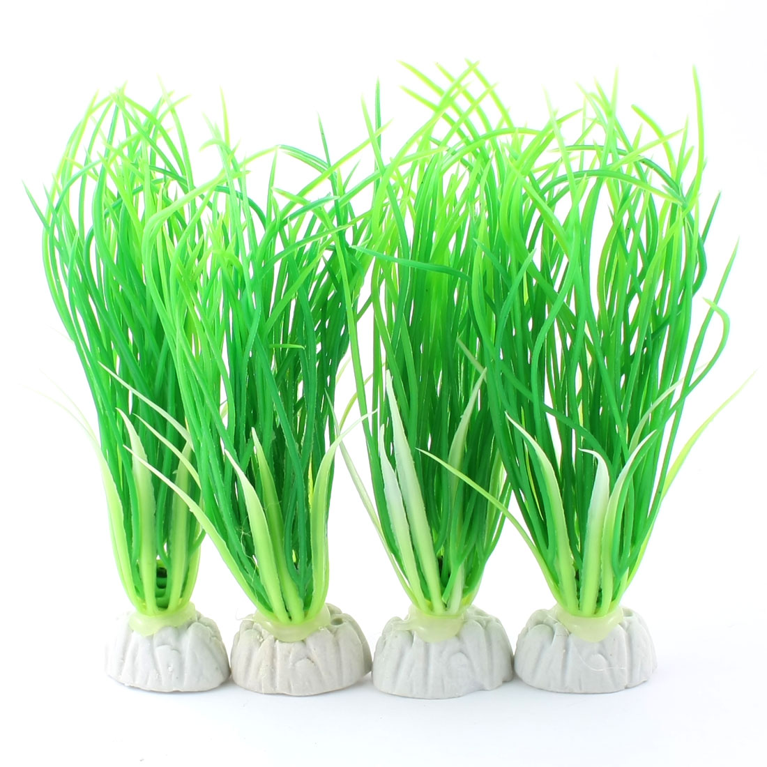 "4 Pcs Aquarium Underwater Emulational Plastic Grass Plant Decor Green 5.5"" High"