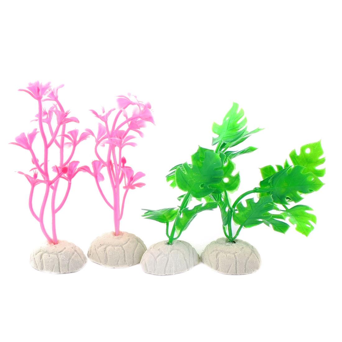 "4 Pcs Aquarium Underwater Emulational Plastic Grass Plant Decor Green Pink 3.5"" High"