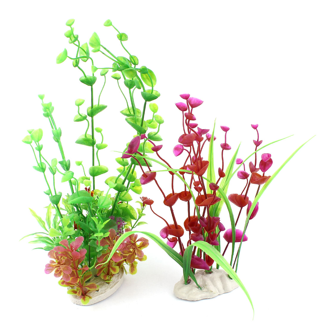 2 In 1 Green Grass Fuchsia Flower Plastic Aquatic Plant for Aquarium Tank