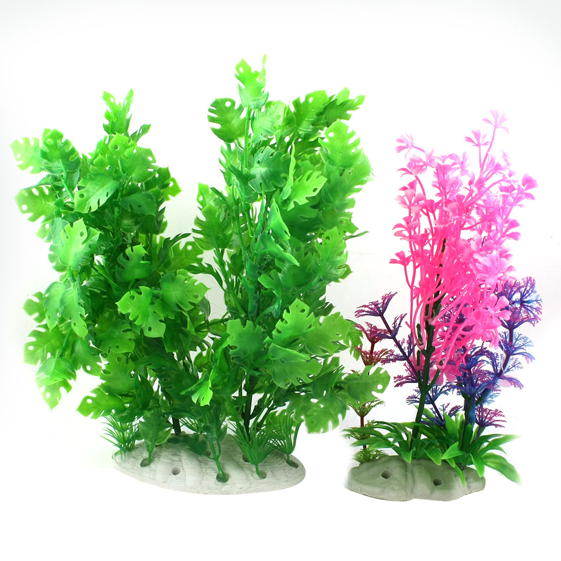 "2 Pcs Aquarium Underwater Landscaping Emulational Multicolor Plastic Flower Grass Decor 10"" High"