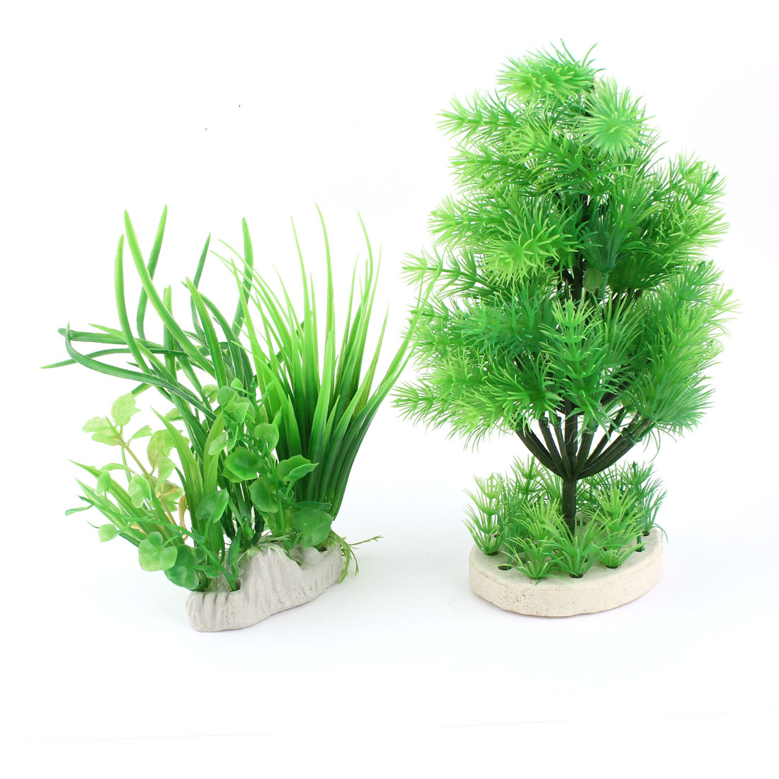 "Fish Tank Green Plastic 8.7"" Pine Tree Grass Aquatic Plants Decor 2 Pcs"