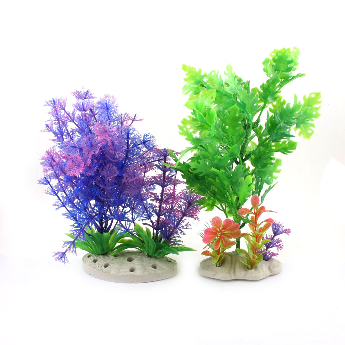 2 Pcs Aquarium Decor Ceramic Base Green Blue Plastic Simulation Water Grass
