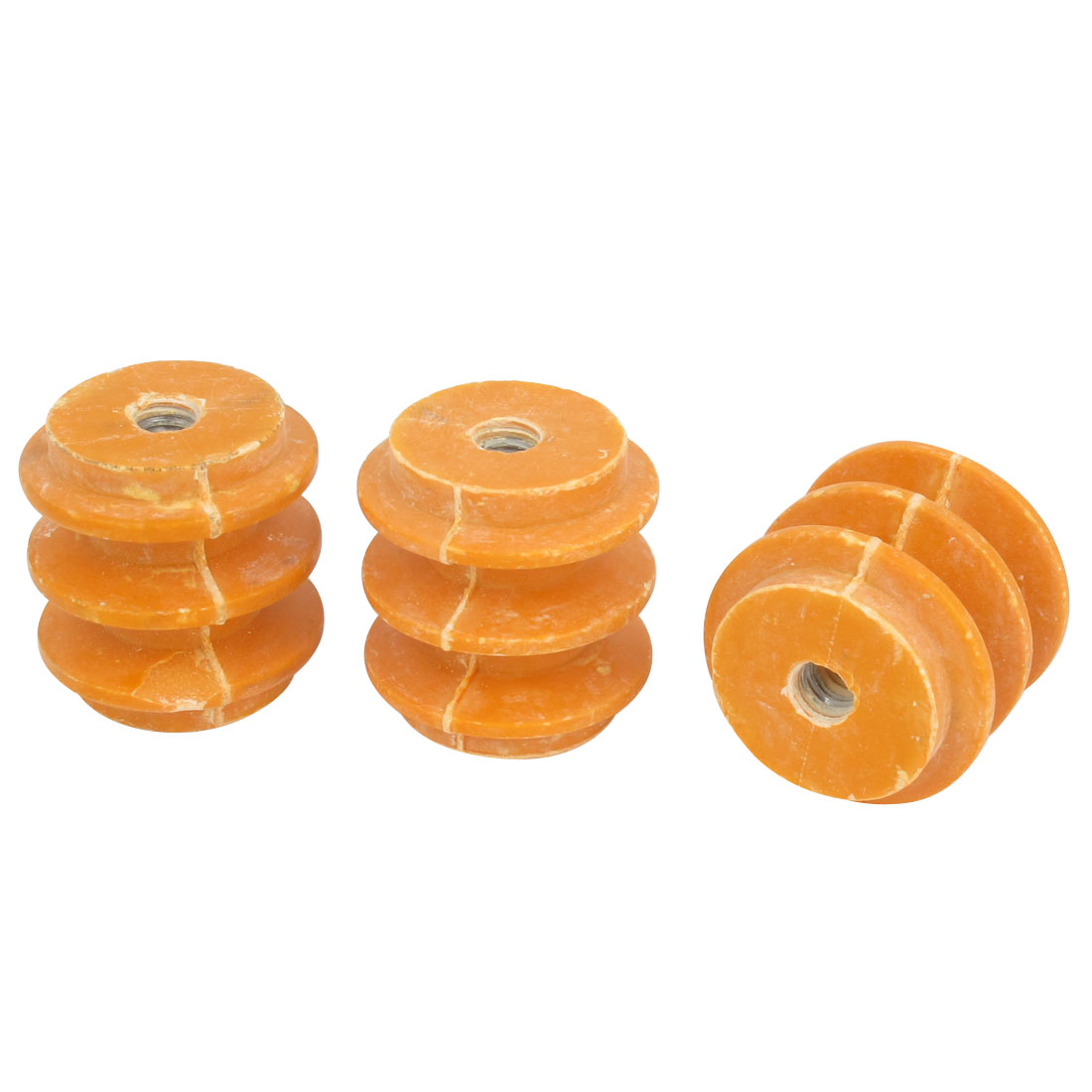 "3 Pcs 660V Water Resistance 1/4"" Thread Busbar Insulator Orange 1.1"" x 1.1"""