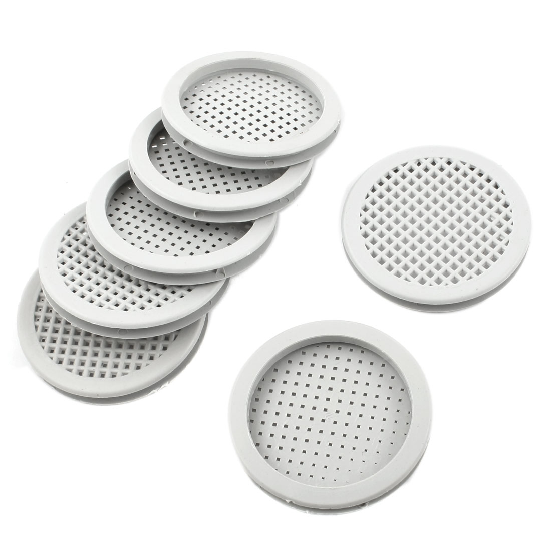 "7 Pcs Kitchen Bathroom Plastic Round 2.2"" Diameter Air Vent Louver Gray"