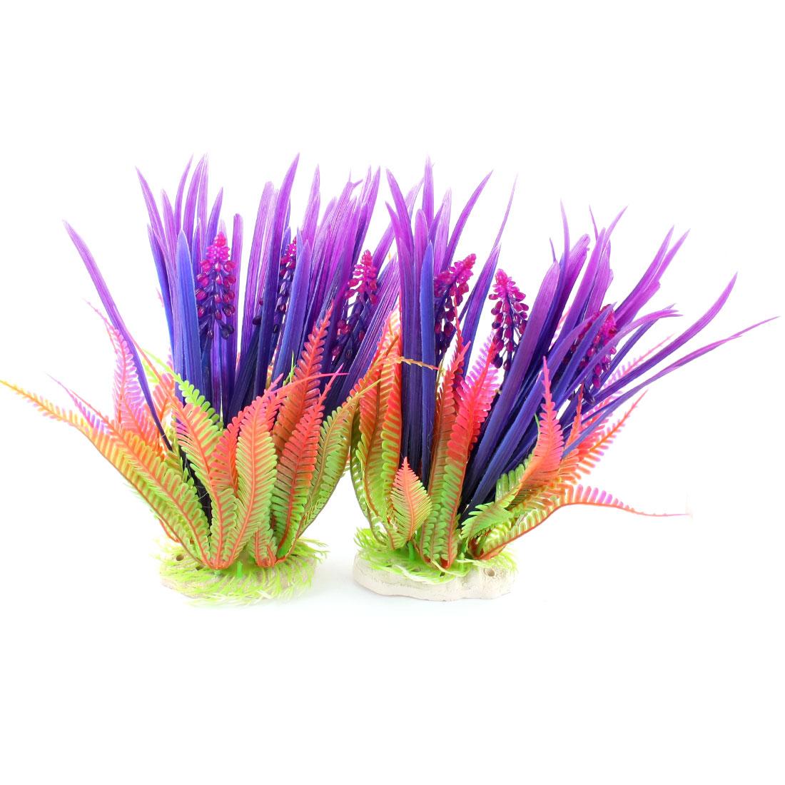 "2 Pcs Aquarium Underwater Landscaping Emulational Colorful Plastic Grass Plant Decor 10"" High"